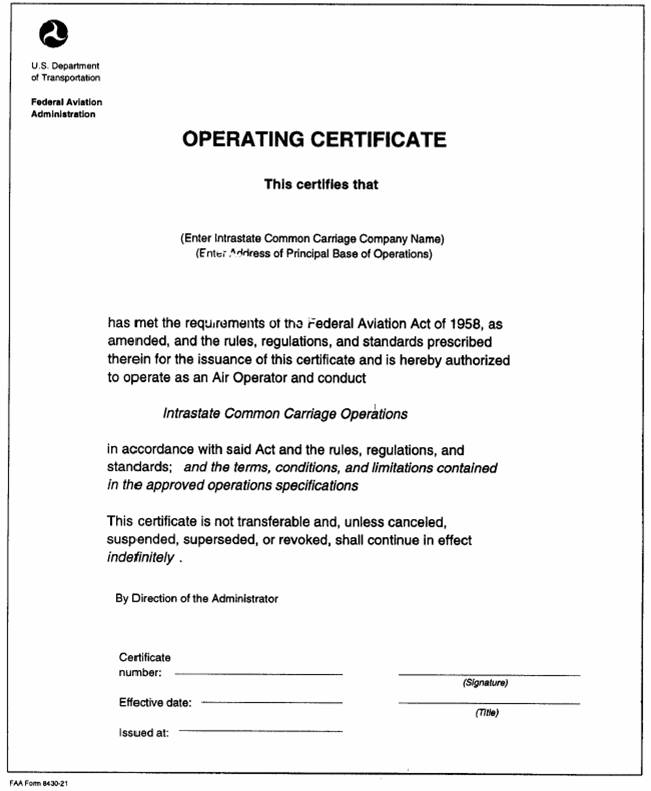 Image005g faa form 8430 21 operating certificate for intrastate common carriage yelopaper Images