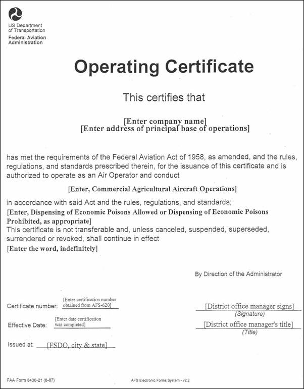 Fsims document viewer sample commercial agricultural aircraft operator certificate yelopaper Gallery