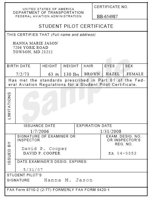 Section 6 Accept Or Reject An Application For A Student Pilot Certificate