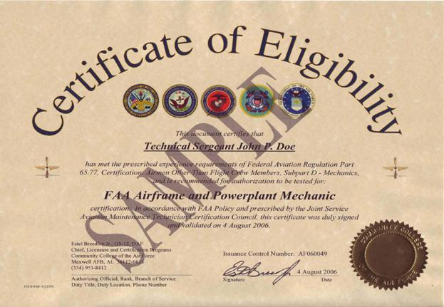 Fsims document viewer figure 5 137 sample completed certificate of eligibility for an airframe and powerplant yadclub Choice Image