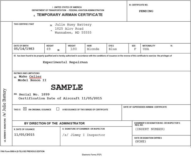 Fsims document viewer sample temporary airman certificate experimental repairman yadclub Image collections