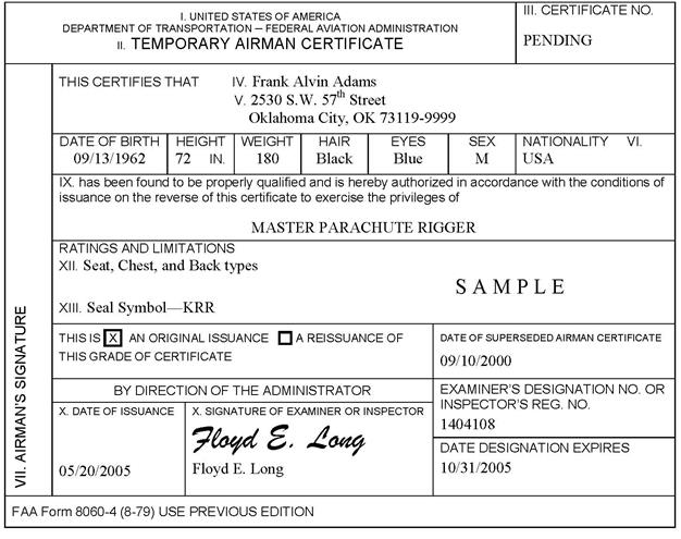 Section 3 Issue A Student Pilot Certificate